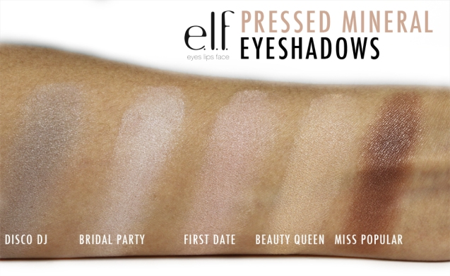 elf pressed mineral eyeshadow swatches