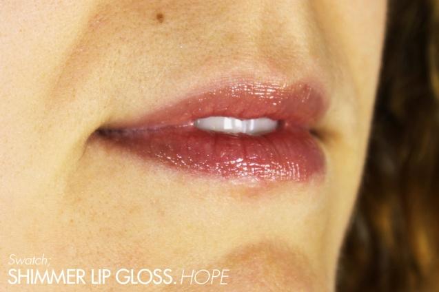 shimmer lip gloss hope swatch