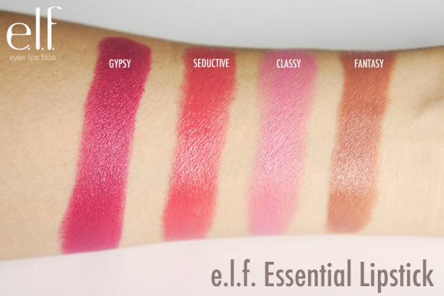 elf Essential Lipstick swatches
