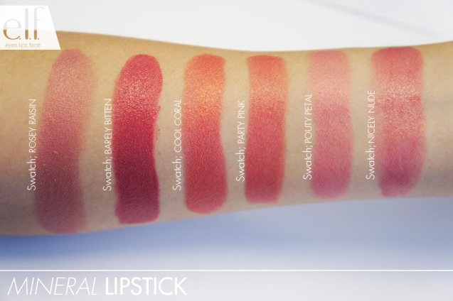 elf Mineral Lipsticks swatch
