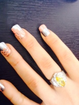 Coral and Silver Chevron Nails